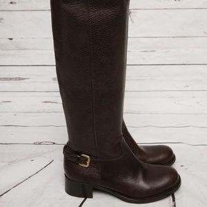 Prada Boot Dark Brown Grained Leather Knee High